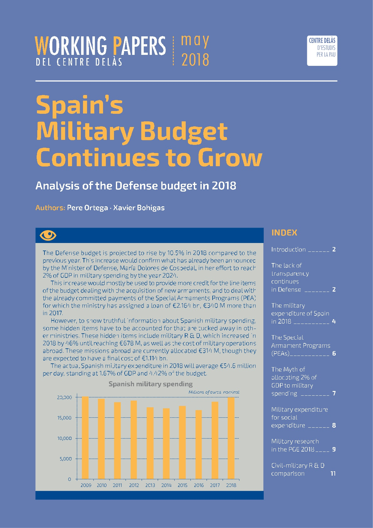 Working Paper: The military budget of Spain continues to grow