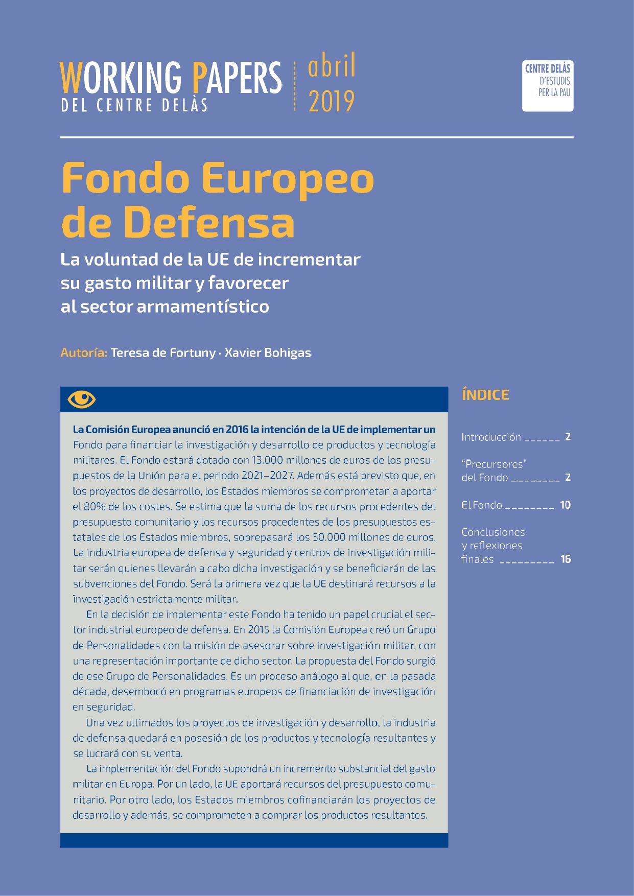 Working Paper: Fondo Europeo de Defensa