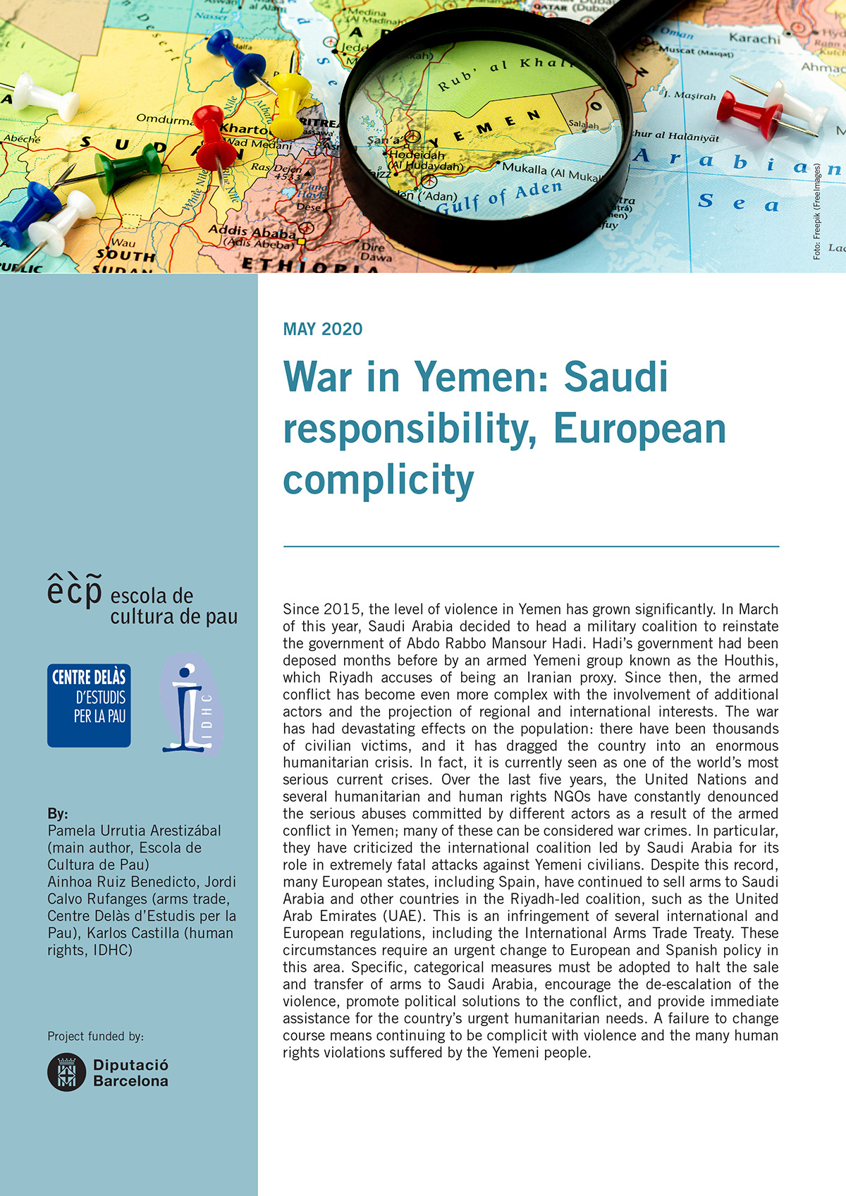 """Policy Paper from ECP, IDHC and Centre Delàs: """"War in Yemen: Saudi responsibility, European complicity"""""""